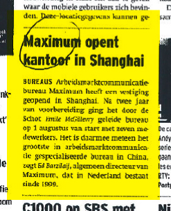 Maximum in Shanghai Adformatie.