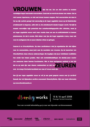 Vrouwen Zeuren - advertentie van Memory Productions Group t.b.v. Diversity Works.