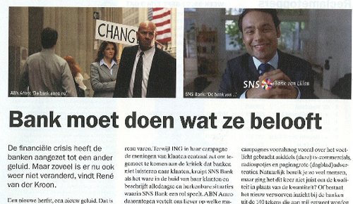 Adformatie, bank, ING, ABN Amro, SNS Bank, belofte, consument, social media, pay-off, campagne