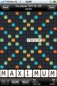 wordfeud i played tdft for 100 points